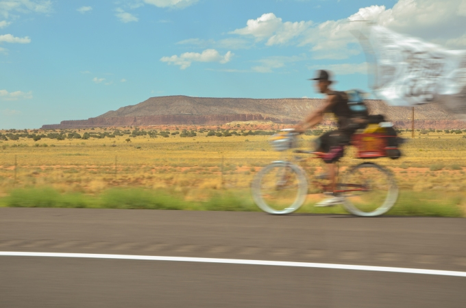 Desert Biker with Flag